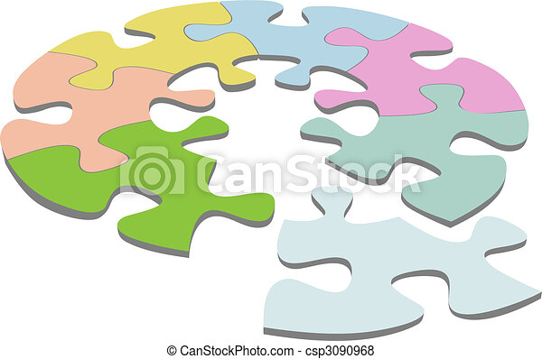 Round Jigsaw Puzzle 3D Circle Solution - csp3090968