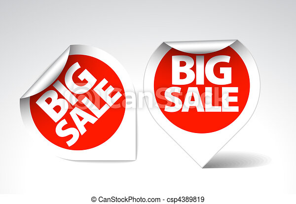 round Labels / stickers for big sale - csp4389819