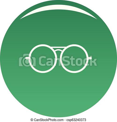 Round lens icon vector green - csp63240373