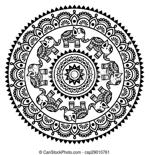Round Mehndi Indian Henna Pattern Vector Ornament In Circle