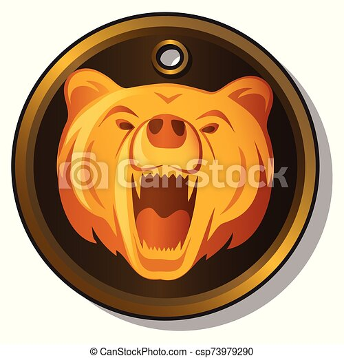 Round metal pendant with the engraved image of the muzzle of a growling bear isolated on white background. Vector cartoon close-up illustration. - csp73979290