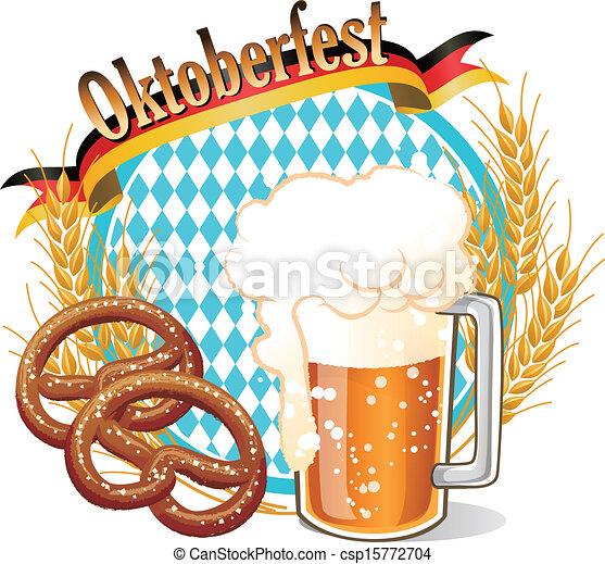 round oktoberfest celebration banner with beer vector clipart rh canstockphoto com oktoberfest clip art images oktoberfest clipart borders