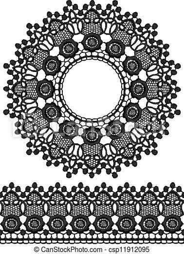 Round openwork lace border. - csp11912095
