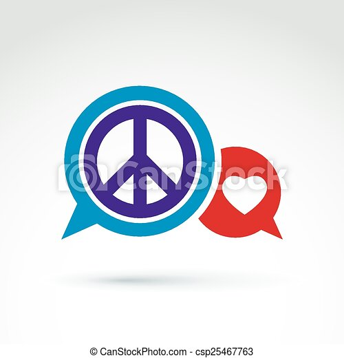 Round Peace And Love Vector Icons Round Antiwar And Love Vector
