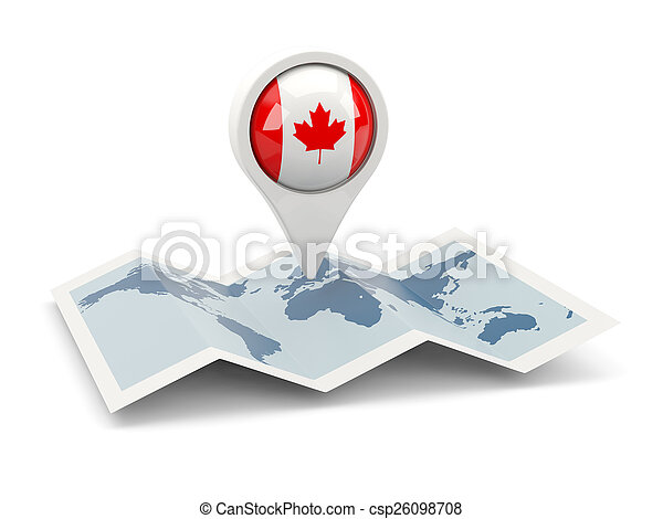 Round pin with flag of canada - csp26098708