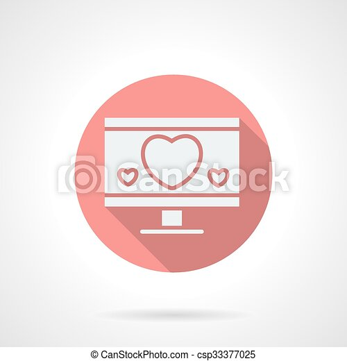 Round pink love chat flat vector icon - csp33377025