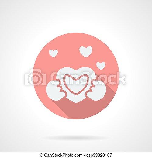 Round pink love proposal flat vector icon - csp33320167