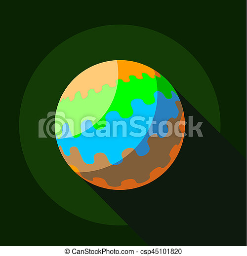 Round planet icon, flat style - csp45101820