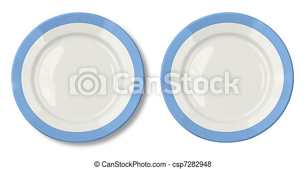 Round plate with blue border isolated on white included - csp7282948