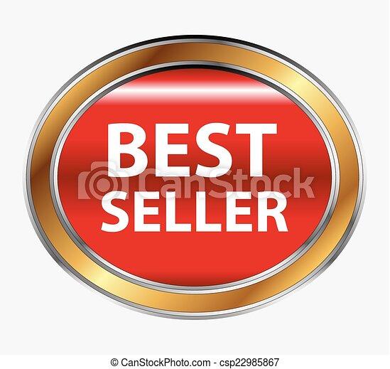 Round red best seller button - csp22985867