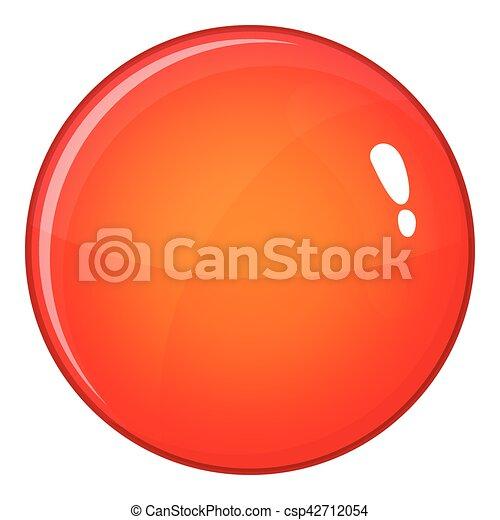 Round red button icon, cartoon style - csp42712054