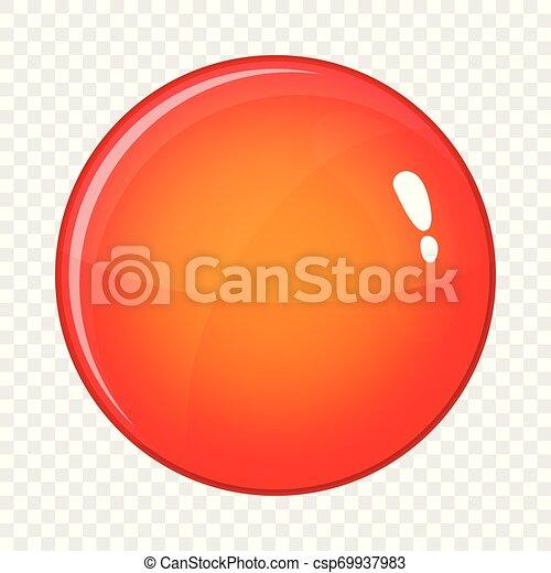 Round red button icon, cartoon style - csp69937983