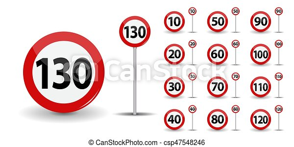 Round Red Road Sign Speed limit 10-130 kilometers per hour. Vector Illustration. - csp47548246
