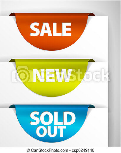Round Sale / New / Sold out label set - csp6249140