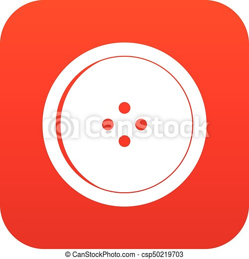 Round sewing button icon digital red - csp50219703