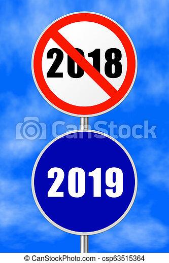 Round sign New Year 2019 - csp63515364