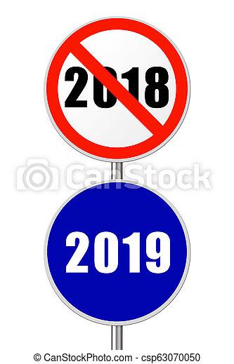 Round sign New Year 2019 - csp63070050