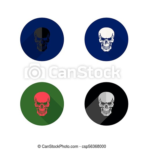 Round skull icon. Collection icons, flat style, on white background, - csp56368000