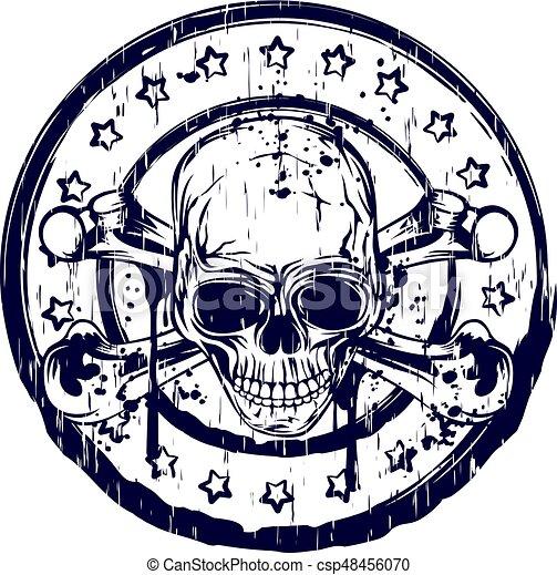 Round Skull Stamp Vector Illustration Blue Old Dirty