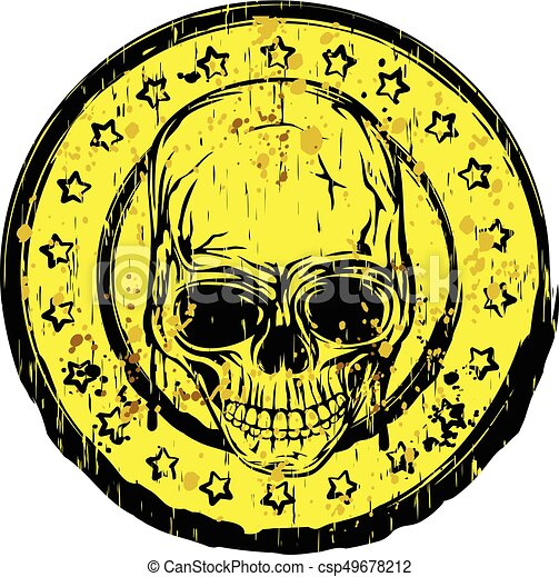 Round Skull Stamp Vector Illustration Old Dirty With