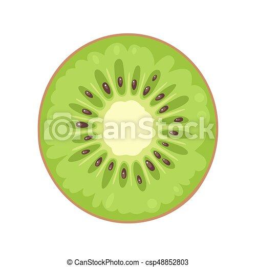 Round slice of kiwi on white background. Flat color illustration - csp48852803