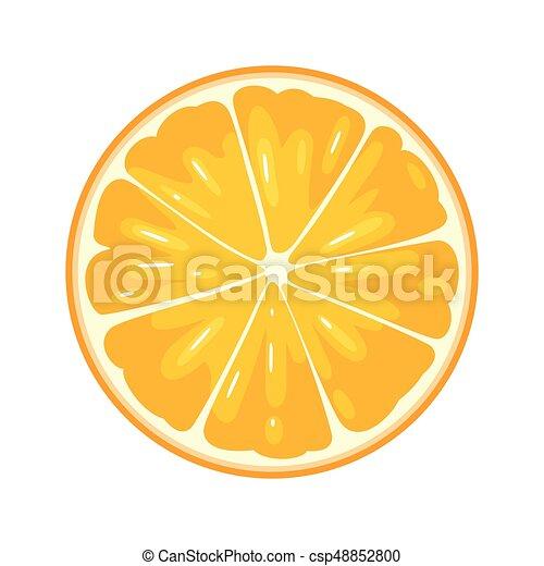 Round slice of orange on white background. Flat color illustration - csp48852800