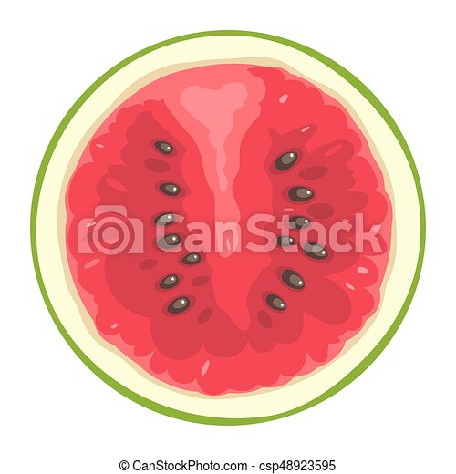 Round slice of watermelon on white background. Flat color illustration - csp48923595