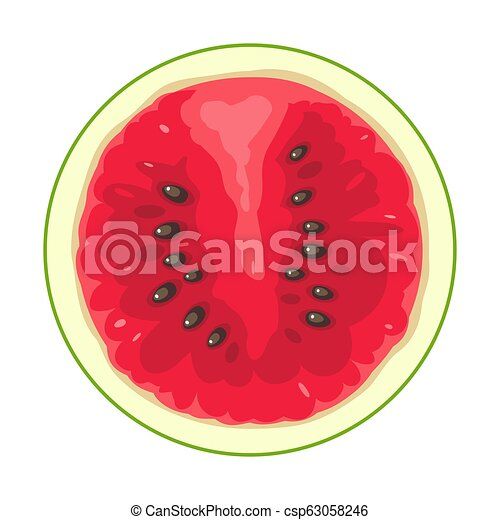 Round slice of watermelon on white background. Flat color illustration - csp63058246