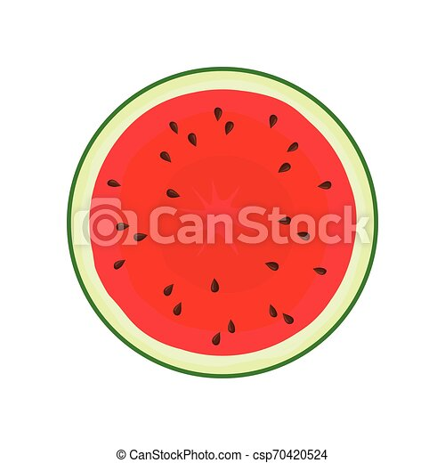 Round slice of watermelon. Vector illustration on white background. - csp70420524