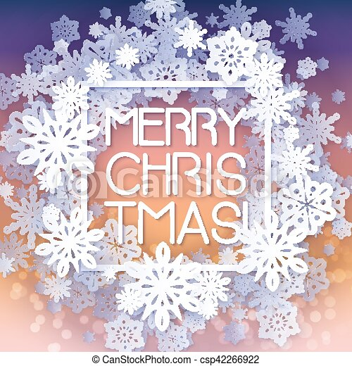 Round snow frame with Merry Christmas text. - csp42266922