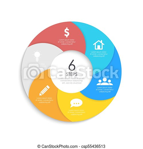 Round spiral infographic template for circle diagram, options, web ...
