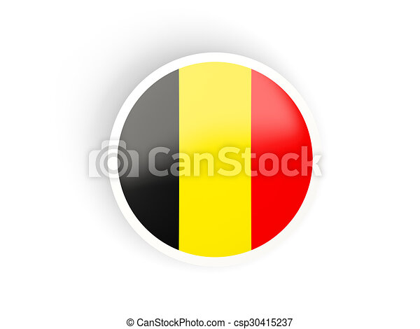 Round sticker with flag of belgium csp30415237