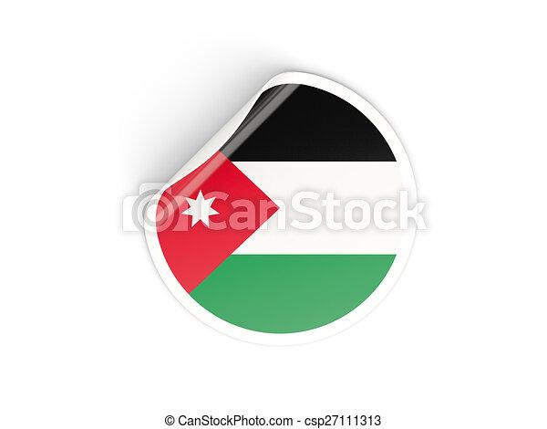 Round sticker with flag of jordan csp27111313