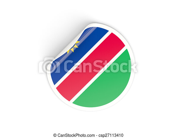 Round sticker with flag of namibia csp27113410