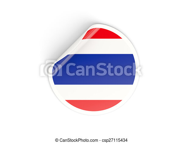 Round sticker with flag of thailand csp27115434