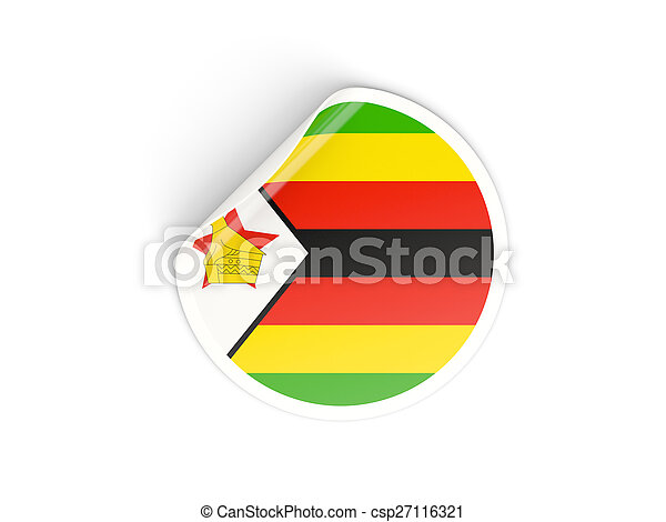 Round sticker with flag of zimbabwe csp27116321