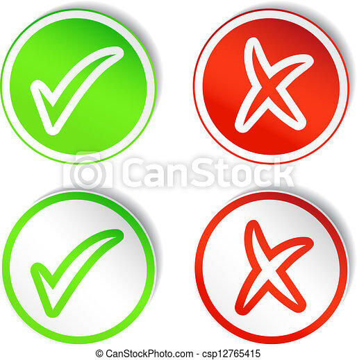 Round Stickers with YES & NO Checmarks - csp12765415