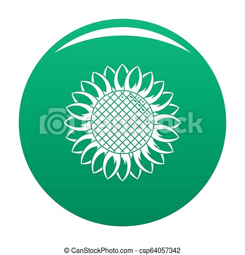 Round sunflower icon green - csp64057342