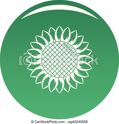 Round sunflower icon vector green - csp63240558