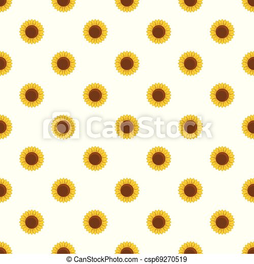 Round sunflower pattern seamless vector - csp69270519