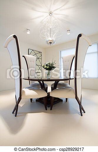 Round table in dining room - csp28929217