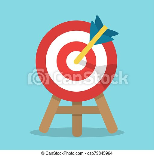 A Round Target With An Arrow In The Center For Hitting Stands On A Stand Canstock ✓ free for commercial use ✓ high quality images. https www canstockphoto com round target with an arrow in the center 73845964 html