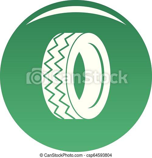 Round tire icon vector green - csp64593804