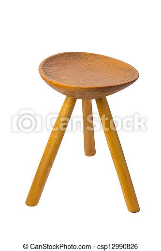 Fine Round Top Maka Wood Stool Isolated On White Background Pabps2019 Chair Design Images Pabps2019Com
