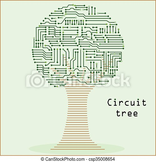 Round tree made of a circuit board pattern vector... clipart vector ...