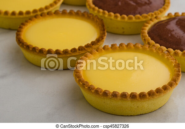 Round Vanilla Tart Round Sweet Vanilla Tart On White Table