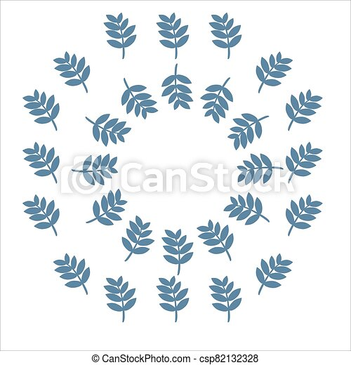 Round vector frame of leaves. - csp82132328