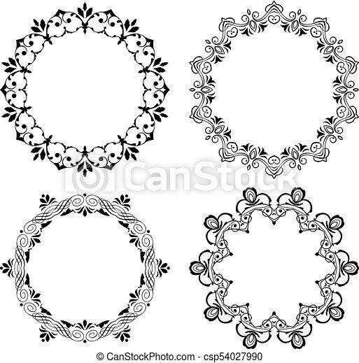 Round vector frames. Set of vintage round vector frames, borders ...