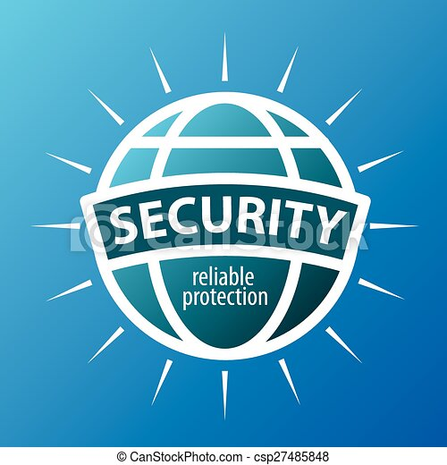 Round vector logo protection globe - csp27485848