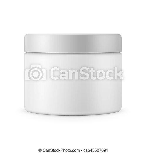 Round white matte plastic jar for cosmetics - csp45527691